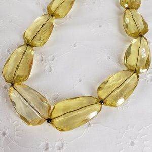 Vintage Yellow Faceted Acrylic Dangles Necklace